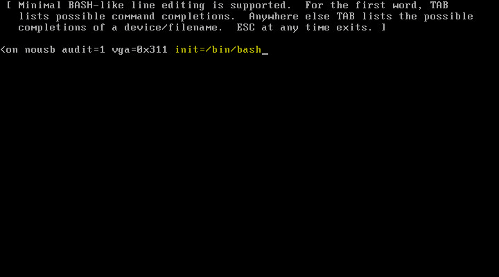 VCSA Boot Error 5 - Boot Bash
