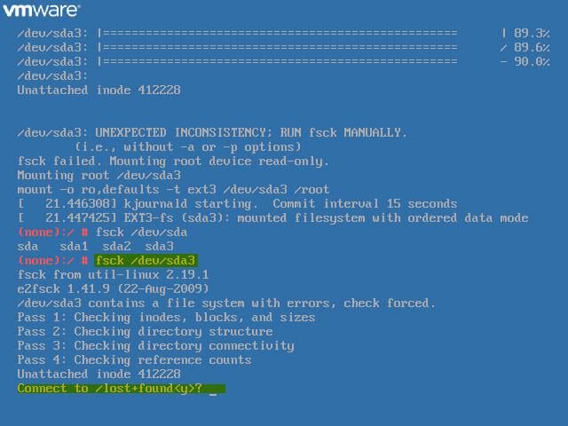 VCSA Boot Error 7 - Run fsck on failed directory