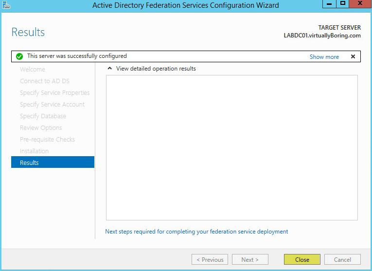 AD FS Configuration 18 - Results