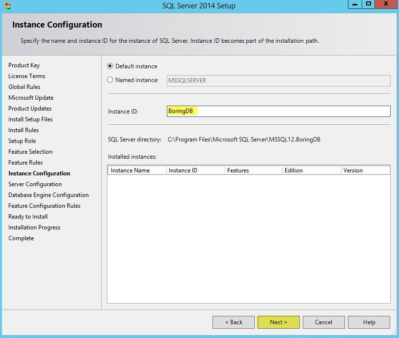 Microsoft SQL 2014 8 - Instance Configuration