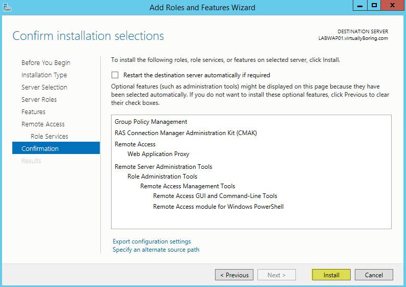 Microsoft Web Application Proxy 9 - Confirmation