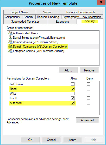 How to setup microsoft active directory certificate services ad pki 26 1 certification authority properties of templates yadclub Gallery