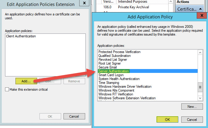 How to setup microsoft active directory certificate services ad pki 26 3 certification authority properties of templates yadclub Choice Image