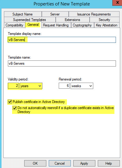 PKI 26 - Certification Authority - Properties of Templates