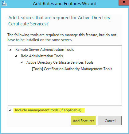 How to setup microsoft active directory certificate services ad cs pki 5 1 server role selection addition yelopaper Gallery