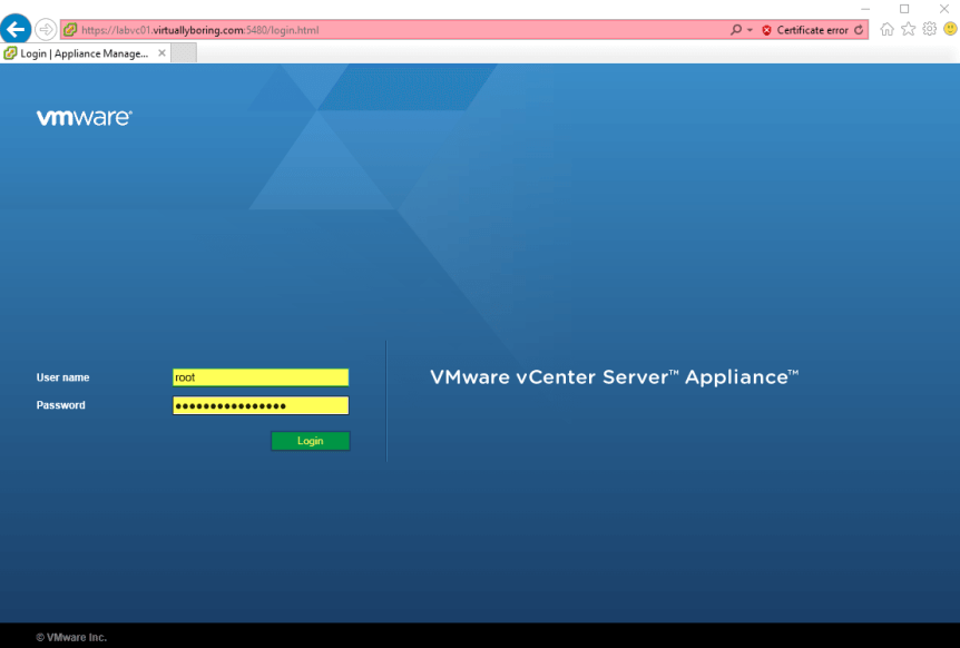 Update VCSA 1 - Log into the AMU