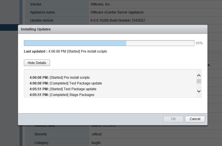 Update VCSA 5 - Installing Updates Progress Bar
