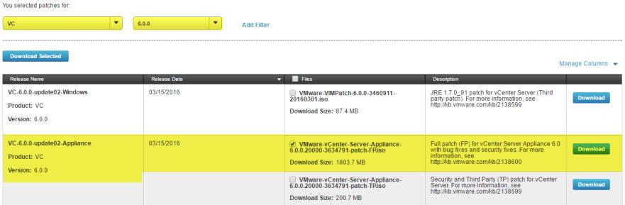 VCSA U2 1 - Download Full Product Update