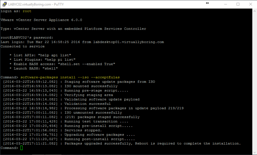 VCSA U2 3 - Software Upgrade Command