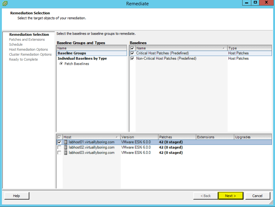 VUM Configure 14 - Remediation Selection