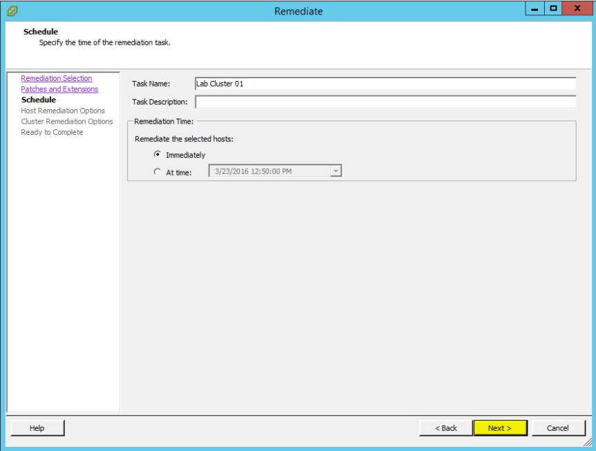 VUM Configure 16 - Schedule
