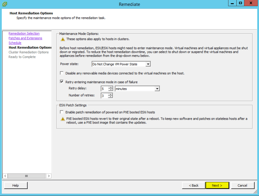 VUM Configure 17 - Host Remediation Options