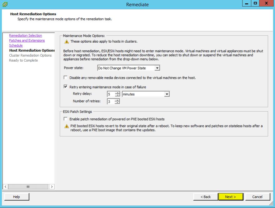 VUM Configure 17 - Host Remediation Options