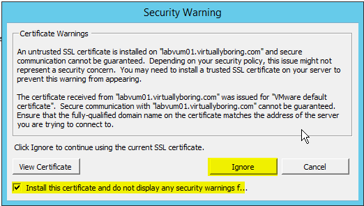 VUM Configure 3 - Accept SSL Warning