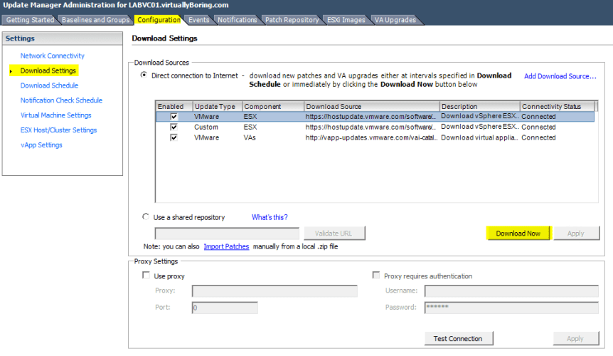 VUM Configure 7 - Download VMware Patches