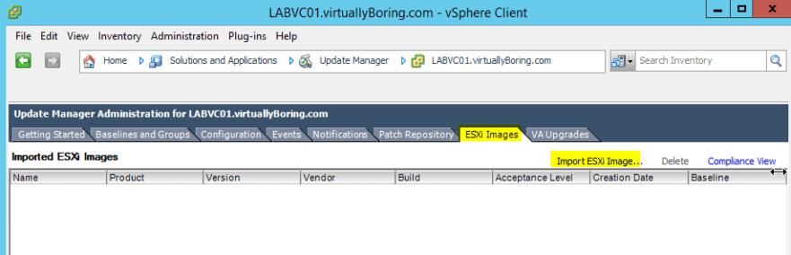 VUM ESXi Update 1 - Import ESXi Image
