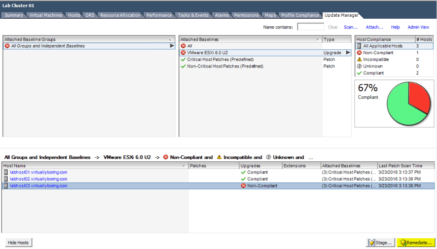 VUM ESXi Update 10 - Remediate