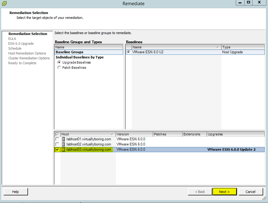 VUM ESXi Update 11 - Remediation Selection