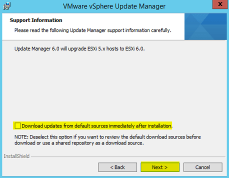 VUM Install 6 - Support Information