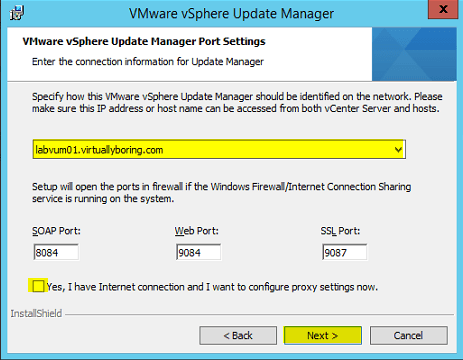 VUM Install 8 - VUM Port Settings