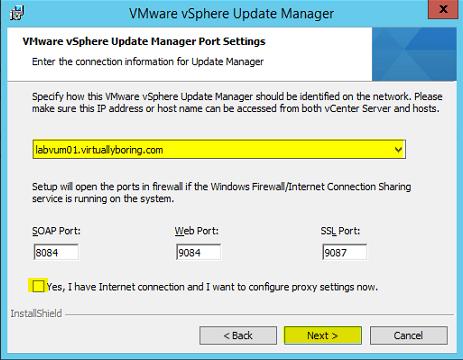 VUM Install 8 - VUM Port Settings