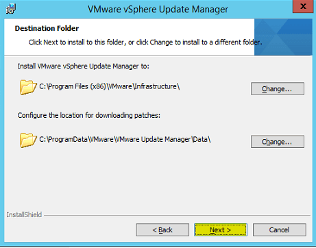 VUM Install 9 - Destination Folder