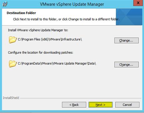 VUM Install 9 - Destination Folder