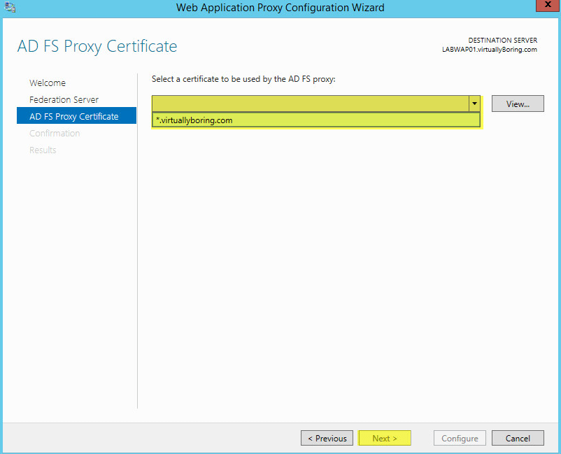 WAP Configuration 14 - AD FS Proxy Certificate