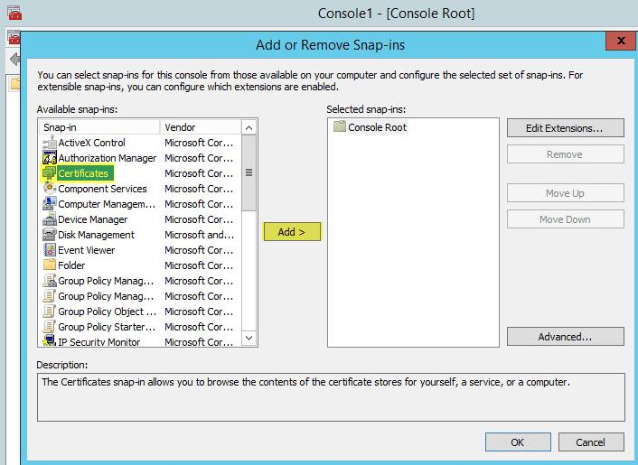WAP Import Certificate 2 - Add Certificate Snapin