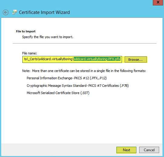 WAP Import Certificate 6 - File to Import