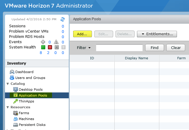 Add RDS Server to View 7 - 17 Add Application Pool