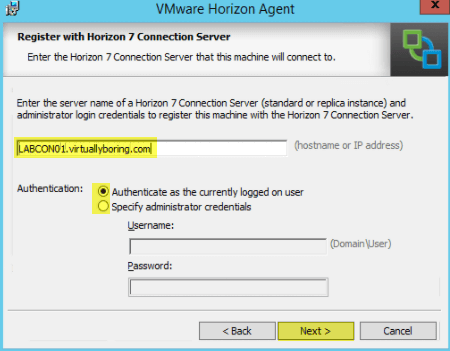 Add RDS Server to View 7 - 7 Register with Horizon 7 Connection Server