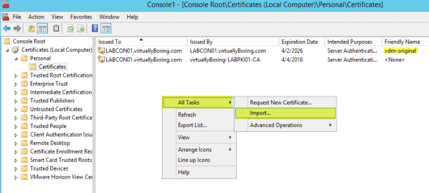 VMware Horizon View 7: Apply SSL Certificates [Part 2