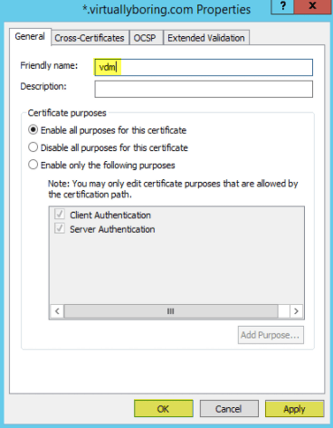 Add SSL Cert fo View - 8 Rename as VDM