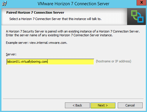 Horizon View 17 - Paired Horizon 7 Connection Server
