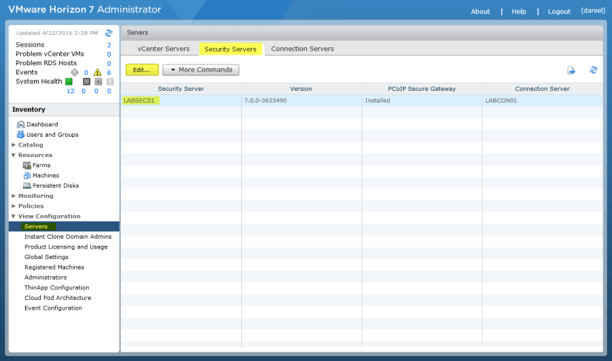 Horizon View 7 - 1 Edit Security Server
