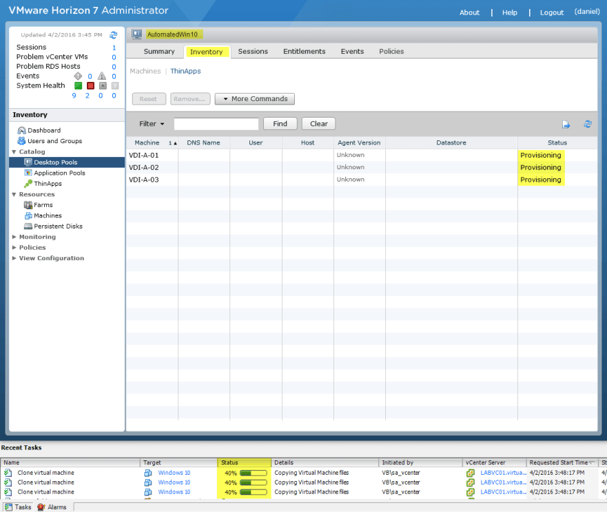 Horizon View 7 - 14 Provisioning Full Desktops