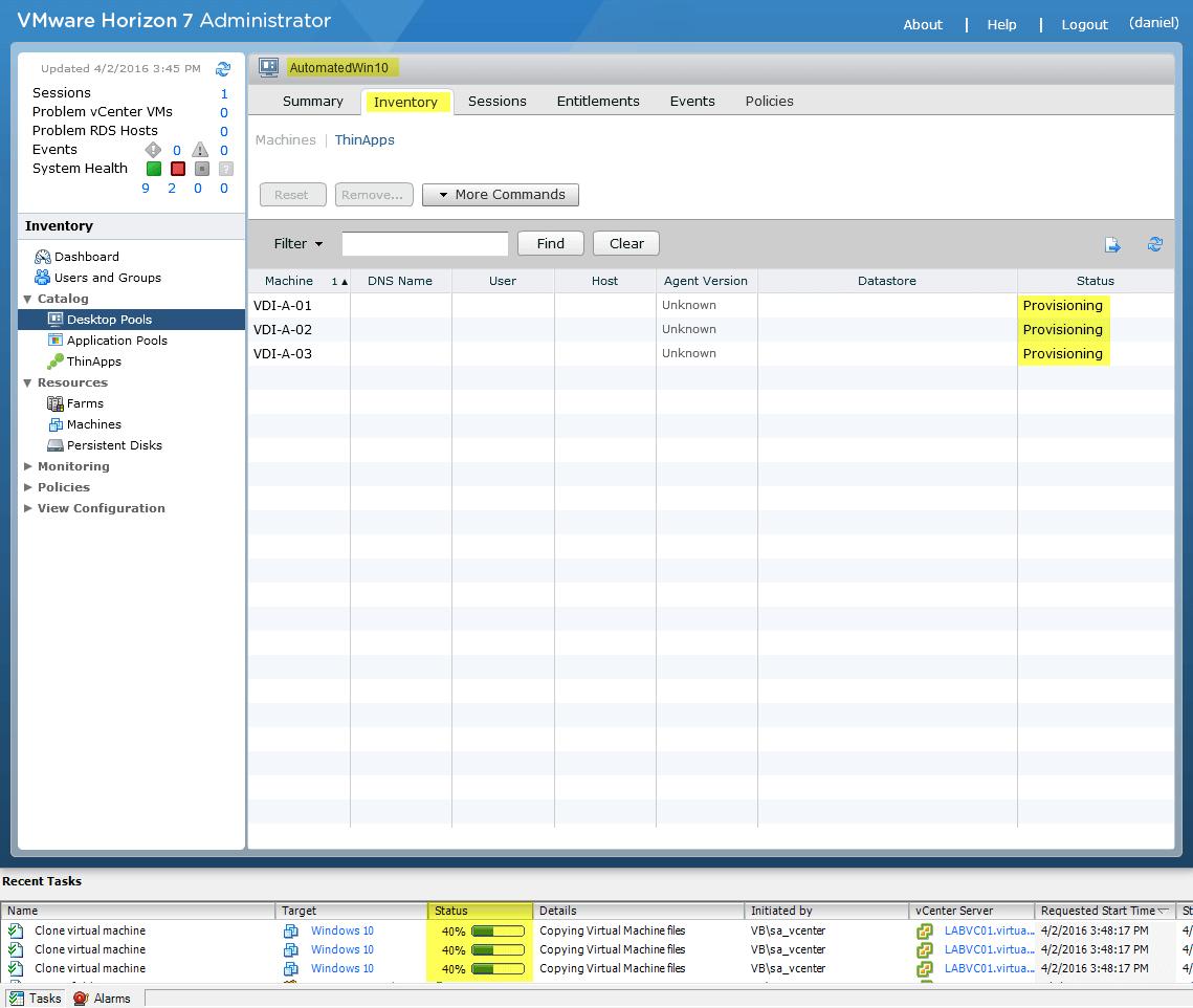 VMware Horizon View 7: Automated Desktop Pool [Part 7
