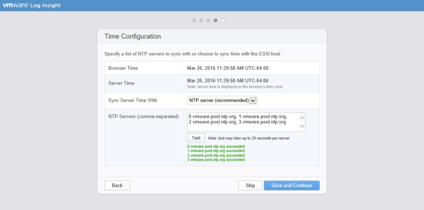 Log Insight Manager 16 - Time Configuration