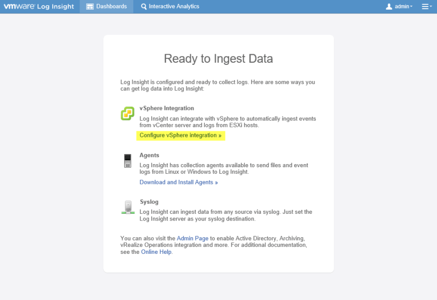Log Insight Manager 19 - Configure vSphere integration