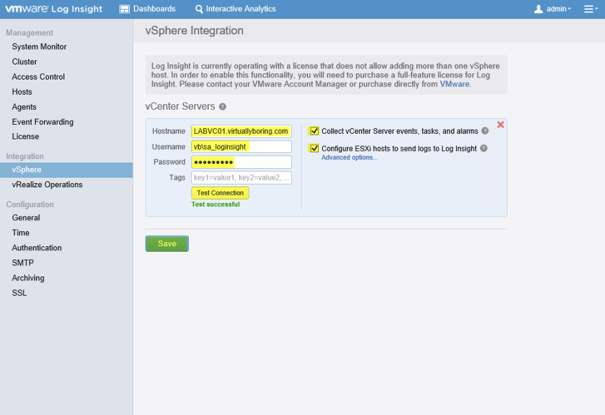 Log Insight Manager 20 - vSphere Integration