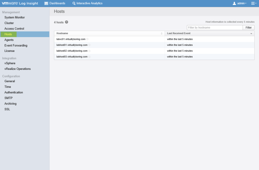 Log Insight Manager 21 - Hosts