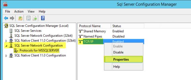 Microsoft SQL 2014 16 - Protocol TCPIP Properties