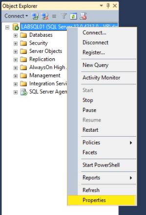Microsoft SQL 2014 18 - SQL Properties