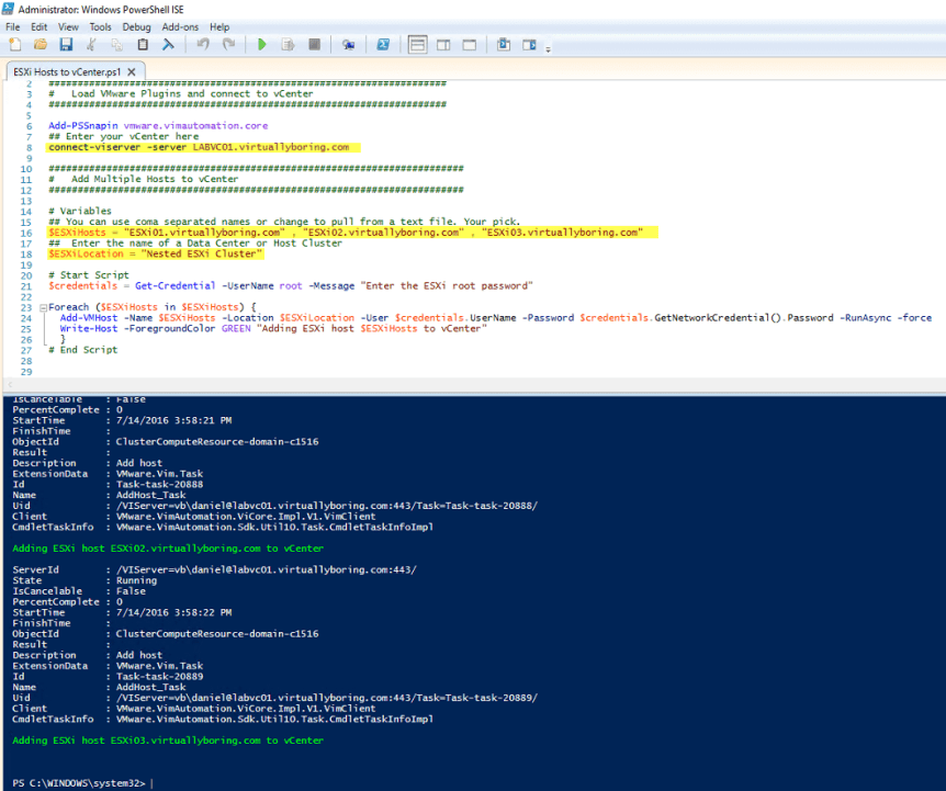 PS Add Hosts to vCenter 4 - Script Output