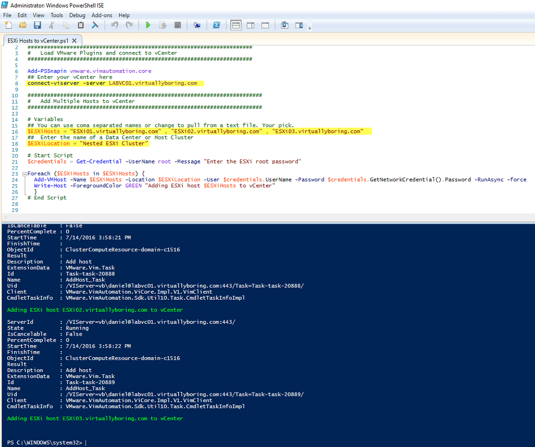 How to Add ESXi Hosts to vCenter using PowerShell