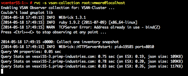 """How to run the VSAN Observer in """"collection"""" mode in the"""