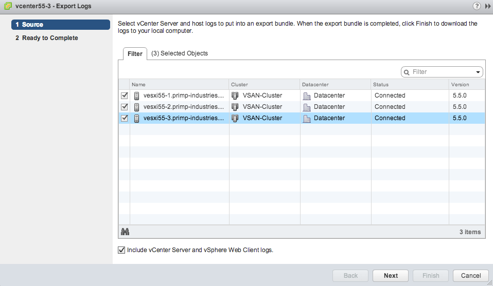 How to generate specific support log bundles for vCenter & ESXi