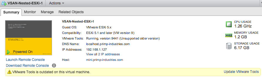 Quick Tip – Upgrading VMware Tools for Nested ESXi 6 0
