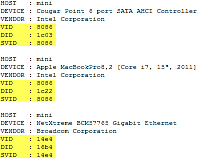 Extracting VID, DID & SVID from PCI devices in ESXi using